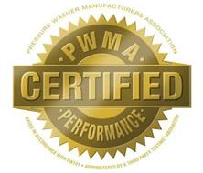 PRESSURE WASHER MANUFACTURERS ASSOCIATION PWMA CERTIFIED PERFORMANCE RATED IN ACCORDANCE WITH PW101 ADMINISTERED BY A THIRD PARTY TESTING LABORATORY