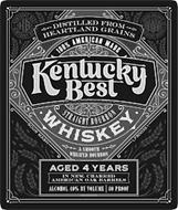 KENTUCKY BEST WHISKEY A UNIQUE BALANCE OF AMERICAN GRAINS, DISTILLED FROM HEARTLAND GRAINS 100 PERCENT AMERICAN WHISKY STRAIGHT BOURBON WHISKEY A SMOOTH WHEATED BOURBON AGED 4 YEARS IN NEW CHARRED AMERICAN OAK BARRELS ALCOHOL 40% BY VOLUME 80 PROOF