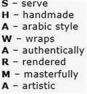 SHAWARMA SERVE HANDMADE ARABIC STYLE WRAPS AUTHENTICALLY RENDERED MASTERFULLY ARTISTIC