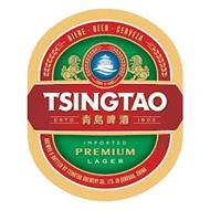 TSINGTAO ESTD 1903 BIERE BEER CERVEZA IMPORTED PREMIUM LAGER BREWED & BOTTLED BY TSINGTAO BREWERY CO., LTD IN QINGDAO CHINA