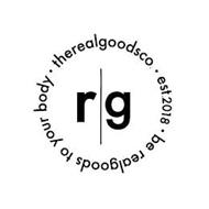 R|G · THEREALGOODSCO. · EST. 2018 · BE REALGOODS TO YOUR BODY