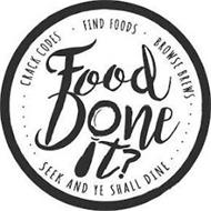 FOOD DONE IT? CRACK CODES FIND FOODS BROWSE BREWS SEEK AND YE SHALL DINE