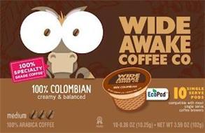 WIDE AWAKE COFFEE CO 100% COLOMBIAN CREAMY & BALANCED MEDIUM 100% ARABICA COFFEE