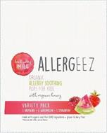 ALLERGEEZ DON'T WORRY I'M FLAT ORGANIC ALLERGY SOOTHING POPS FOR KIDS WITH ORGANIC HONEY VARIETY PACK 3 RASPBERRY 4 WATERMELON 3 STRAWBERRY MADE WITH ORGANIC AND NON-GMO INGREDIENTS · GLUTEN & DAIRY FREE * FLAVORED WITH OTHER NATURAL FLAVORS