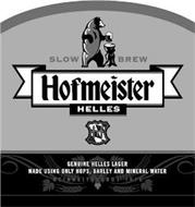 HOFMEISTER HELLES SLOW BREW GENUINE HELLES LAGER MADE USING ONLY HOPS, BARLEY AND MINERAL WATER REINHEITSGEBOT 1516