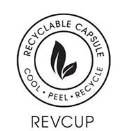 REVCUP RECYCLABLE CAPSULE COOL · PEEL · RECYCLE