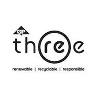 GP THREE RENEWABLE RECYCLABLE RESPONSIBLE
