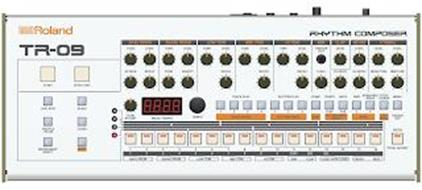 R ROLAND RHYTHM COMPOSER TR-09 START STOP/CONT LAST STEP SCALE SHUFFLE/FLAM CLEAR INSTRUMENT SELECT SHIFT BASS DRUM TUNE LEVEL ATTACK DECAY SNARE DRUM TUNE LEVEL TONE SNAPPY LOW TOM TUNE LEVEL DECAY MID TOM TUNE LEVEL DECAY HI TOM TUNE LEVEL DECAY RIM TRIGGER OUT LEVEL CLAP LEVEL HI HAT LEVEL CH DECAY OH DECAY CYMBAL LEVEL LEVEL CRASH TUNE RIDE TUNE TOTAL ACCENT MEAS/TEMPO TEMPO TRACK PLAY 1 2 3 4