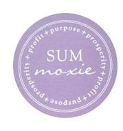 SUM MOXIE PROFIT + PURPOSE + PROSPERITY+ PROFIT + PURPOSE + PROSPERITY