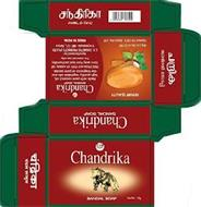 CHANDRIKA SANDAL SOAP NETWT; 75G CHANDRIKA SANDAL SOAP EXPORT QUALITY CHANDRIKA SANDAL SOAP MFG LIC NO. 4/32/99 PACKED 10/2018 BATCH NO. 249 CHANDRIKA SANDAL SOAP MADE WITH PURE COCONUT OIL, HIGH QUALITY VEGETABLE OILS AND THE FRAGRANCE OF PUE SANDAL. FREE FORM ANY TYPE OF ANIMAL FAT STORE AWAY FROM HEAT AND HUMIDITY FOR EXTERNAL USE ONLY MANUFATURED BY: S.V. COSMETIC PRODUCTS (P) LTD. IRINJALAKUD