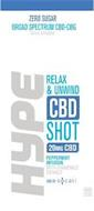 ZERO SUGAR BROAD SPECTRUM CBD-CBG DIETARY SUPPLEMENT HYPE RELAX & UNWIND CBD SHOT 20MG CBD PEPPERMINT INFUSION WITH CHAMOMILE EXTRACT CBD BY SOCATI ND THC