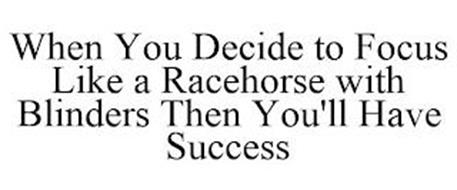WHEN YOU DECIDE TO FOCUS LIKE A RACEHORSE WITH BLINDERS THEN YOU'LL HAVE SUCCESS