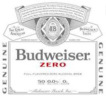 BUDWEISER ZERO TO THE HEROES OF THE HARDWOOD. THE SULTANS OF SWAT. THE GUARDIANS OF THE GOAL. INTRODUCING THE GENUINE BUDWEISER ZERO, A REFRESHING ZERO-ALCOHOL BREW WITH THE CHOICEST INGREDIENTS AND GREAT BUDWEISER TASTE. THIS BUD'S BREWED FOR THOSE WHO MAKE ZERO COMPROMISE. THIS BUD'S FOR YOU. AB TRADE MARK THE UNITED STATES OF AMERICA THE GREAT AMERICAN BUDWEISER TASTE BUDWEISER QUALITY ALCOHOL