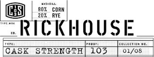 C 103 S MASHBILL: 80% CORN 20% RYE TYPE.MARK ED RICKHOUSE TYPE: PROOF: COLLECTION NO. CASK STRENGTH 103 01/08