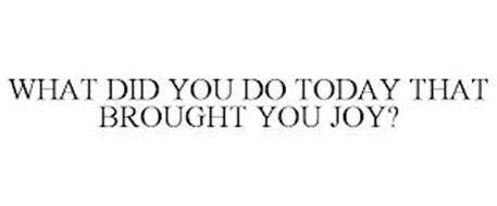 WHAT DID YOU DO TODAY THAT BROUGHT YOU JOY?