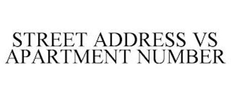 STREET ADDRESS VS APARTMENT NUMBER