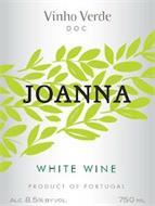 VINHO VERDE DOC JOANNA WHITE WINE PRODUCT OF PORTUGAL ALC. 8.5 BY VOL. 750 ML.