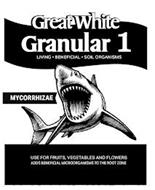 GREAT WHITE GRANULAR 1 LIVING · BENEFICIAL · SOIL ORGANISMS MYCORRHIZAE USE FOR FRUITS, VEGETABLES AND FLOWERS ADDS BENEFICIAL MICROORGANISMS TO THE ROOT ZONE