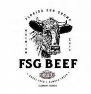 FLORIDA SUN GROWN PREMIUM CUTS FSG BEEF FSG ·GRASS FEED ALWAYS FRESH· CLERMONT FLORIDA