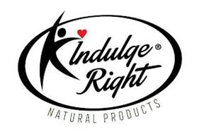 A SILHOUETTE, INDULGE RIGHT, A HEART SHAPE OVER THE I, AND OVAL CIRCLE, NATURAL PRODUCTS
