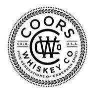 COORS WHISKEY CO COLO. U.S.A. CWCO FIVE GENERATIONS OF UNBROKEN SPIRIT
