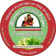 UNIQUE FLAVORS OF THE WORLD MAMMA'S HEAVENLY RECIPES CREAMY BASIL SAUCE MADE WITH FRESH BASIL AND GARLIC PASTA SAUCE BEST WHEN REFRIGERATED NET WT 16 0Z 1 LB 453 G