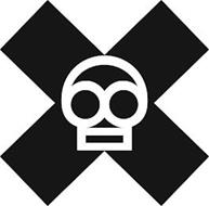 A SKULL CENTERED ON A BLOCK X